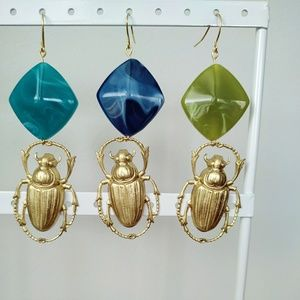 Beetle bead earrings